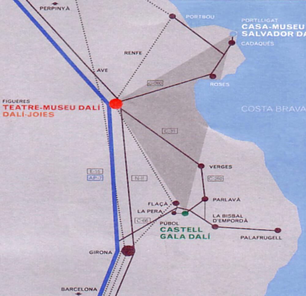 Landkarte mit eingezeichneten Dalí-Museen